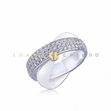 Серебряное кольцо «Стейси» с белой керамикой