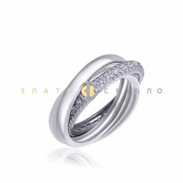 Серебряное кольцо «Тринити» с белой керамикой
