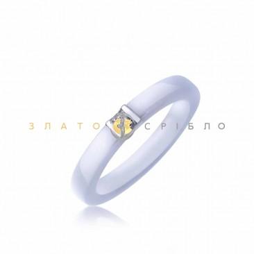 Серебряное кольцо «Марион» с белой керамикой