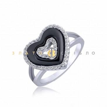 Серебряное кольцо «Сильвия» с черной керамикой
