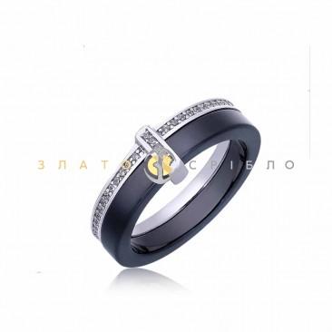 Серебряное кольцо «Ла-Манш» с черной керамикой