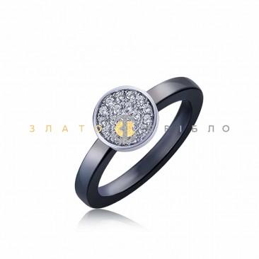 Серебряное кольцо «Лунный свет» с черной керамикой
