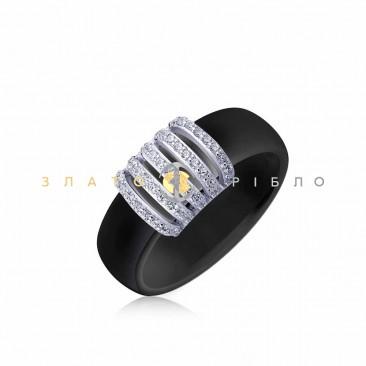 Серебряное кольцо «Дакар» с черной керамикой