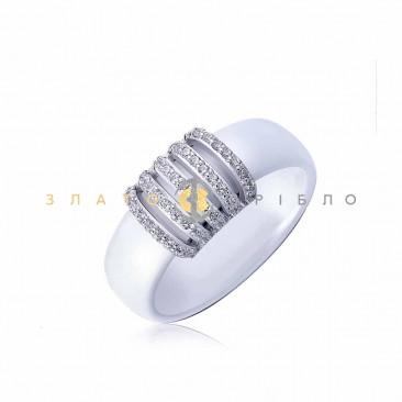 Серебряное кольцо «Дакар» с белой керамикой