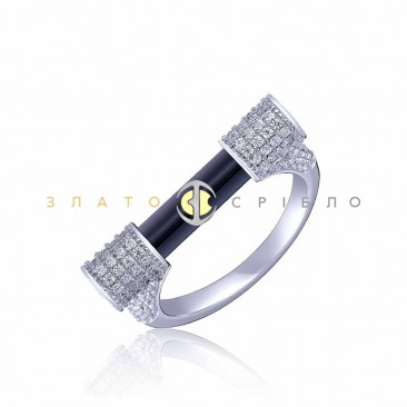 Серебряное кольцо «Miansai style» с черной керамикой