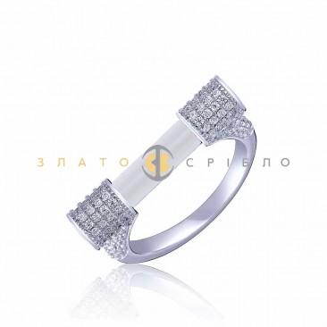 Серебряное кольцо «Miansai style» с белой керамикой