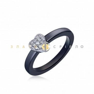 Серебряное кольцо «Сердечко» с черной керамикой