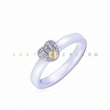 Серебряное кольцо «Сердечко» с белой керамикой