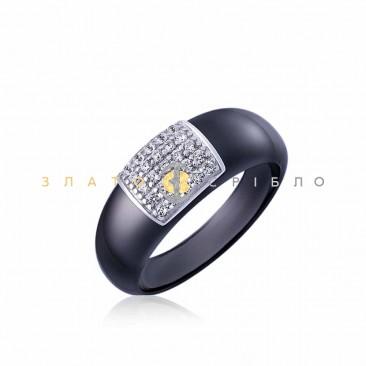 Серебряное кольцо «Нинэль» с черной керамикой