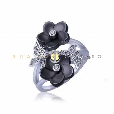 Серебряное кольцо «Лилу» с черной керамикой
