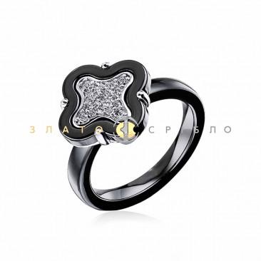 Серебряное кольцо «Тайна» с черной керамикой