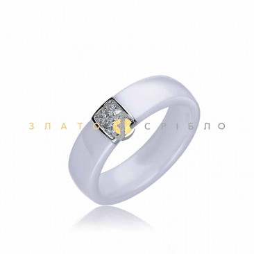 Серебряное кольцо «Савойя» с белой керамикой
