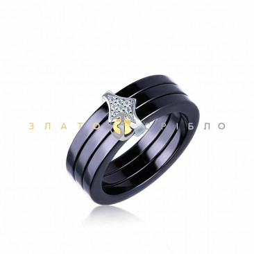 Серебряное кольцо «Сиена» с черной керамикой