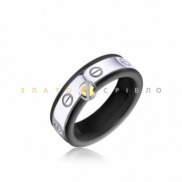 Серебряное кольцо «Манхеттен» с черной керамикой