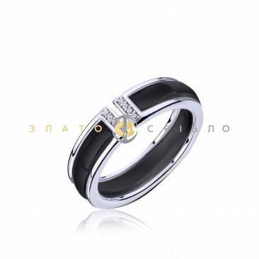 Серебряное кольцо «Снежана» с черной керамикой