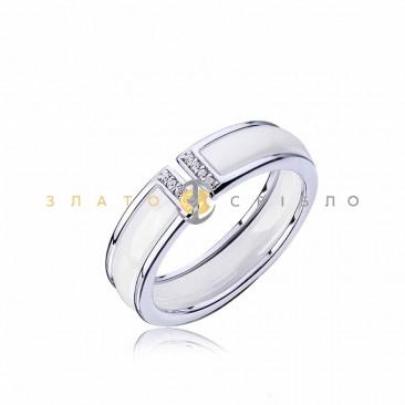 Серебряное кольцо «Снежана» с белой керамикой