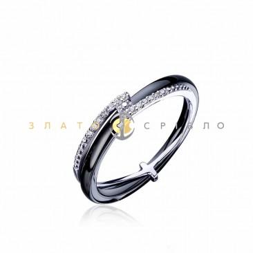 Серебряное кольцо «Зигзаг удачи» с черной керамикой