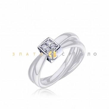 Серебряное кольцо «Белый шоколад» с белой керамикой