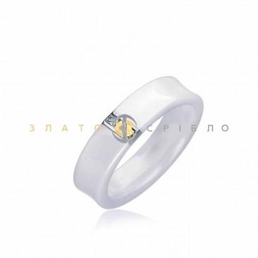 Серебряное кольцо «Lady in white» с белой керамикой