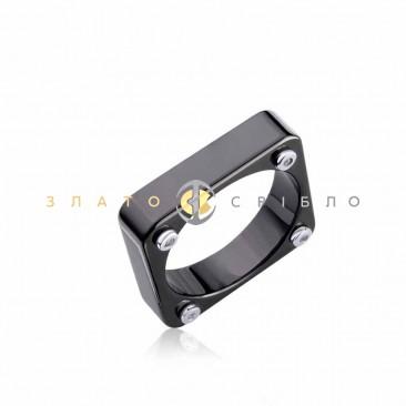 Серебряное кольцо «Венето» с черной керамикой