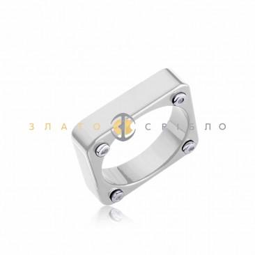 Серебряное кольцо «Венето» с белой керамикой