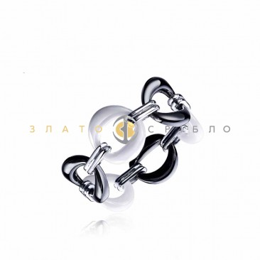 Серебряное кольцо «Парижанка» с керамикой