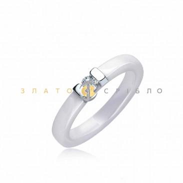 Серебряное кольцо «Ривьера» с белой керамикой