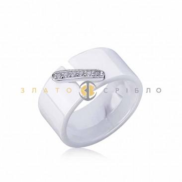 Серебряное кольцо «Мегаполис» с белой керамикой