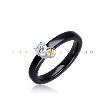 Серебряное кольцо «Верджиния» с черной керамикой