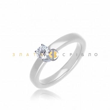 Серебряное кольцо «Верджиния» с белой керамикой