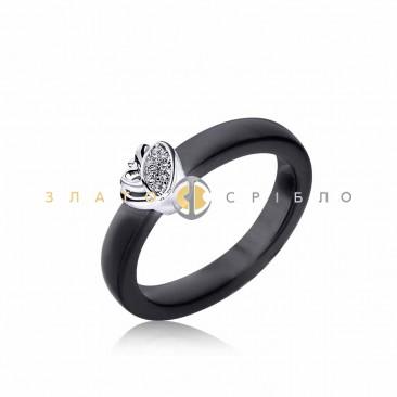 Серебряное кольцо «Джем» с черной керамикой
