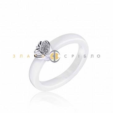 Серебряное кольцо «Джем» с белой керамикой