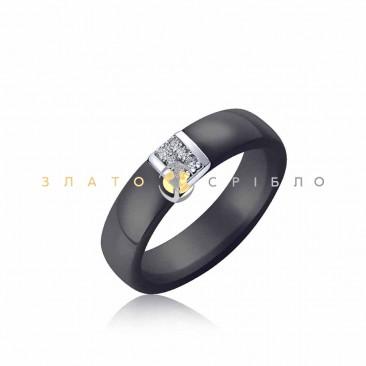 Серебряное кольцо «Элизабет» с черной керамикой