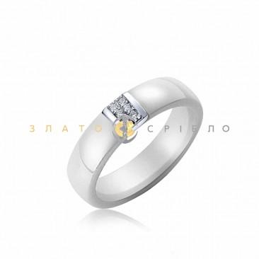 Серебряное кольцо «Элизабет» с белой керамикой