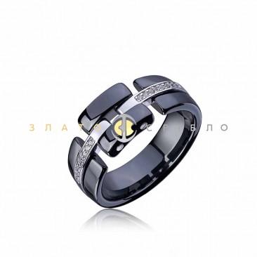 Серебряное кольцо «Freedom» с черной керамикой