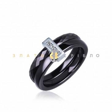Серебряное кольцо «Луизиана» с черной керамикой