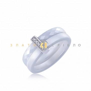 Серебряное кольцо «Луизиана» с белой керамикой