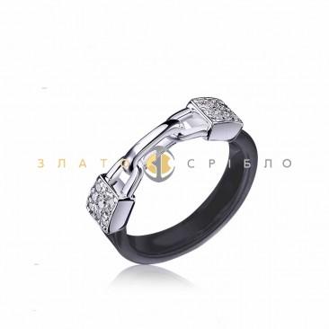 Серебряное кольцо «Связь» с черной керамикой