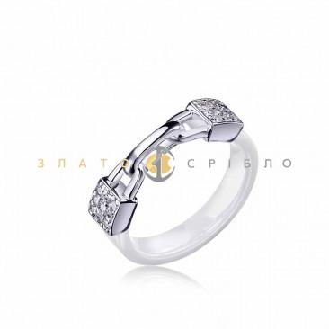 Серебряное кольцо «Связь» с белой керамикой
