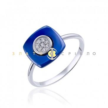 Серебряное кольцо «Сапфир» с синей керамикой