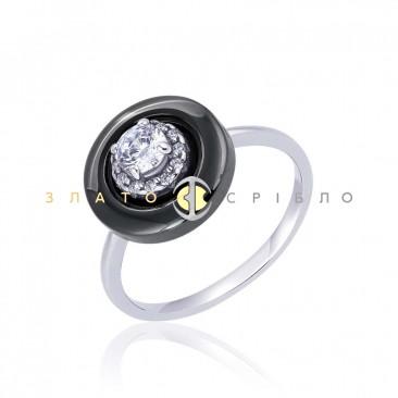 Серебряное кольцо «Diva» с черной керамикой