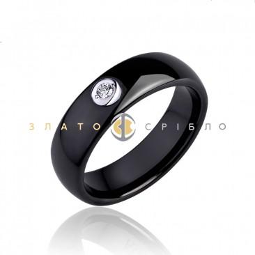 Керамическое кольцо «Черный лебедь» с бриллиантом и накладкой из белого золота