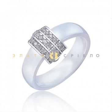 Серебряное кольцо «Бриджит» с белой керамикой