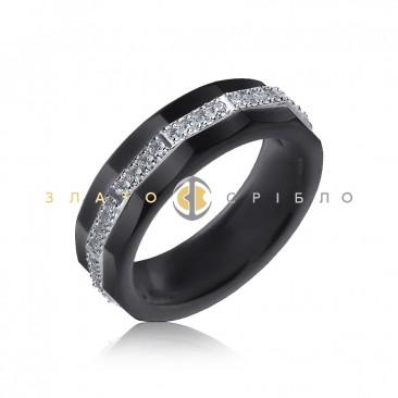 Серебряное кольцо «Астория» с черной керамикой