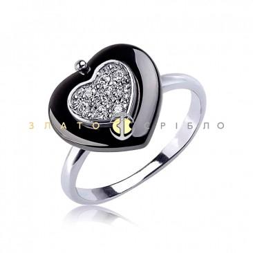 Срібна каблучка «Поспішай кохати» з чорною керамікою