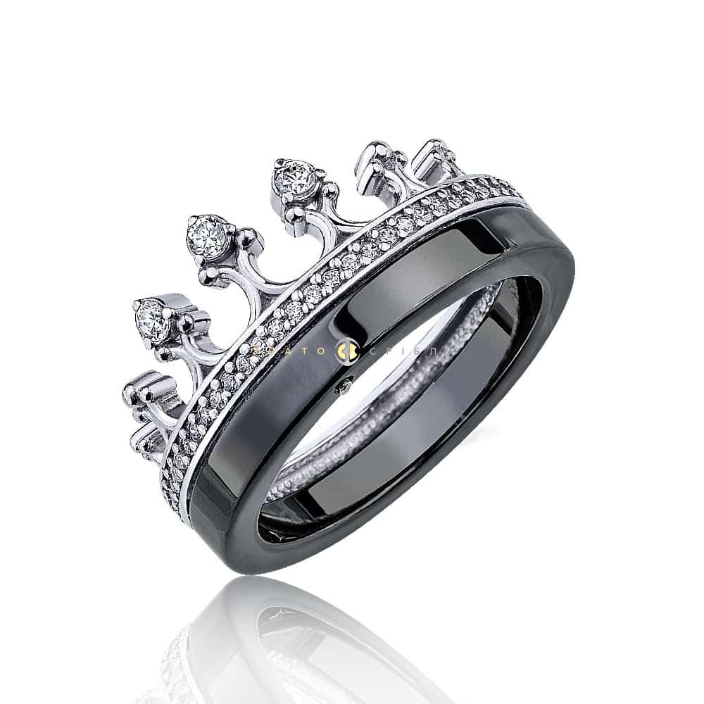 Срібна каблучка «Королева Ночі» з чорною керамікою в интернет ... 5173ce6802cf6