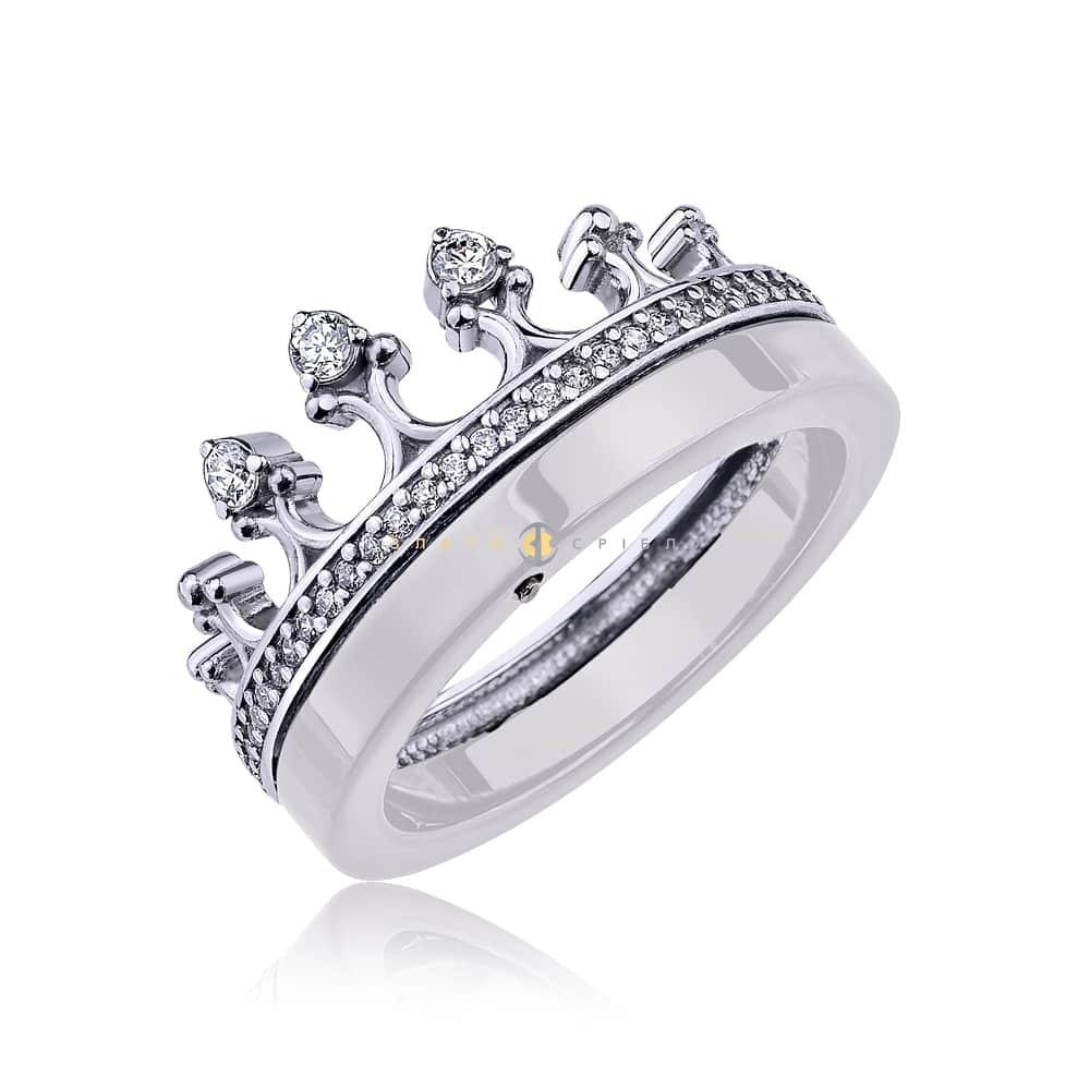 Срібна каблучка «Королева ночі» з білою керамікою в интернет ... d070a7c43b5fd
