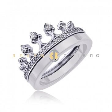 Серебряное кольцо «Королева ночи» c белой керамикой