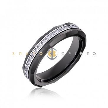Серебряное кольцо «Urban style» с черной керамикой