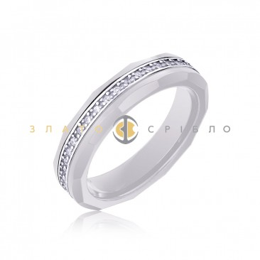 Серебряное кольцо «Urban style» с белой керамикой